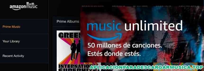 imagen en la que se muestra una captura de pantalla de la aplicación amazon music
