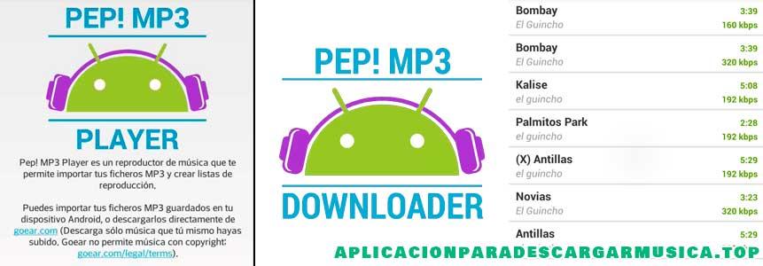 aplicación pep mp3 downloader para oír música
