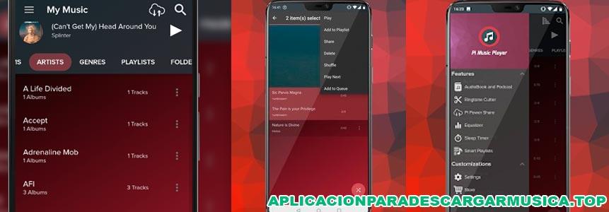composición de imágenes de la app pi music player para descargar música gratis sin conexión