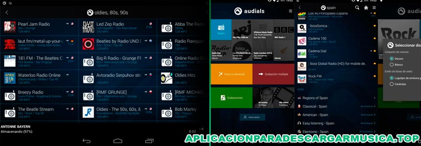 descarga música en android con radio player by audials