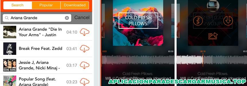 imagen compuesta de campturas de pantalla de la aplicación para descargar música offline soundcloud music