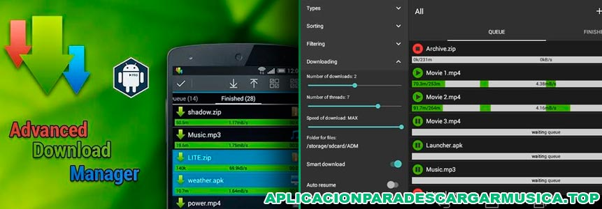 baja música mp3 con advanced download manager