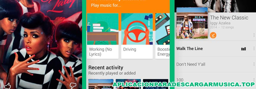 captura de pantalla de la aplicación google play music