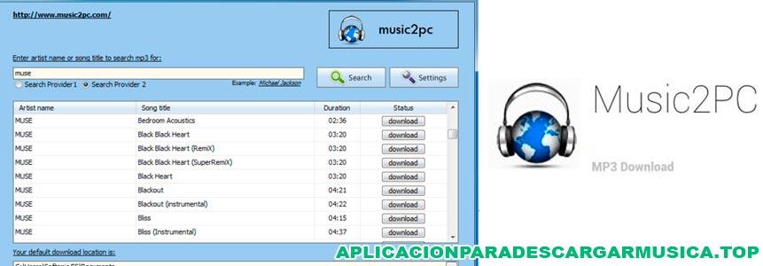 imagen sobre la app music2pc