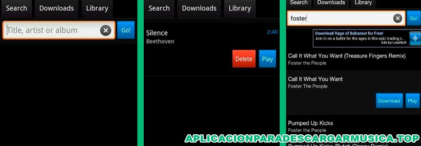 captura de la pantalla en la que se ve la app simple mp3 downloader