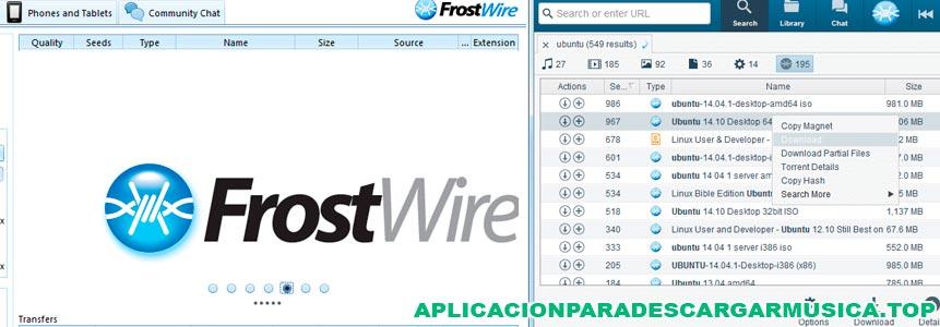aquí tienes una imagen del frostwire que sirve para descargar música para pc